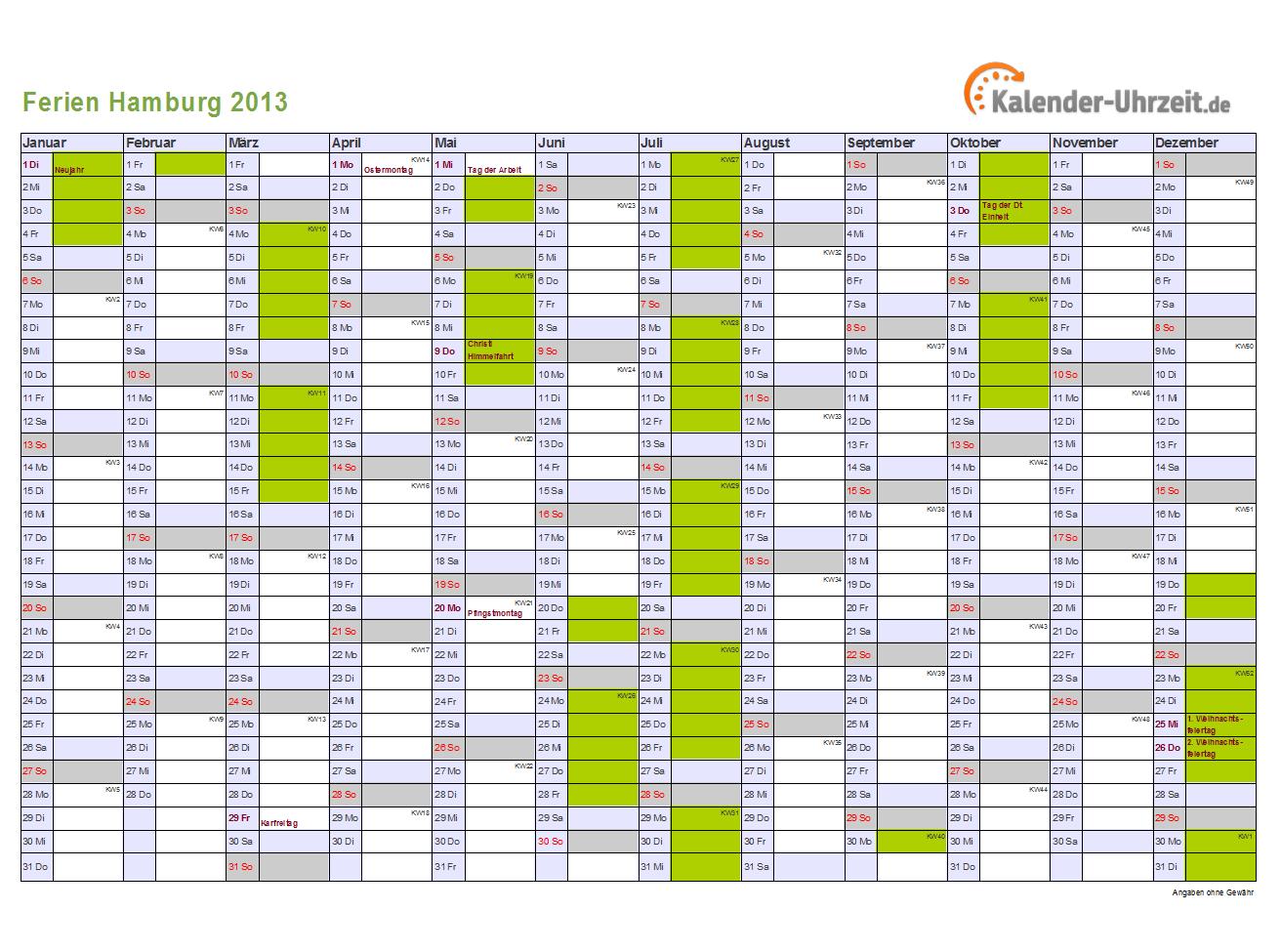 Ferienkalender 2013 Hamburg mit Feiertagen zum Ausdrucken und