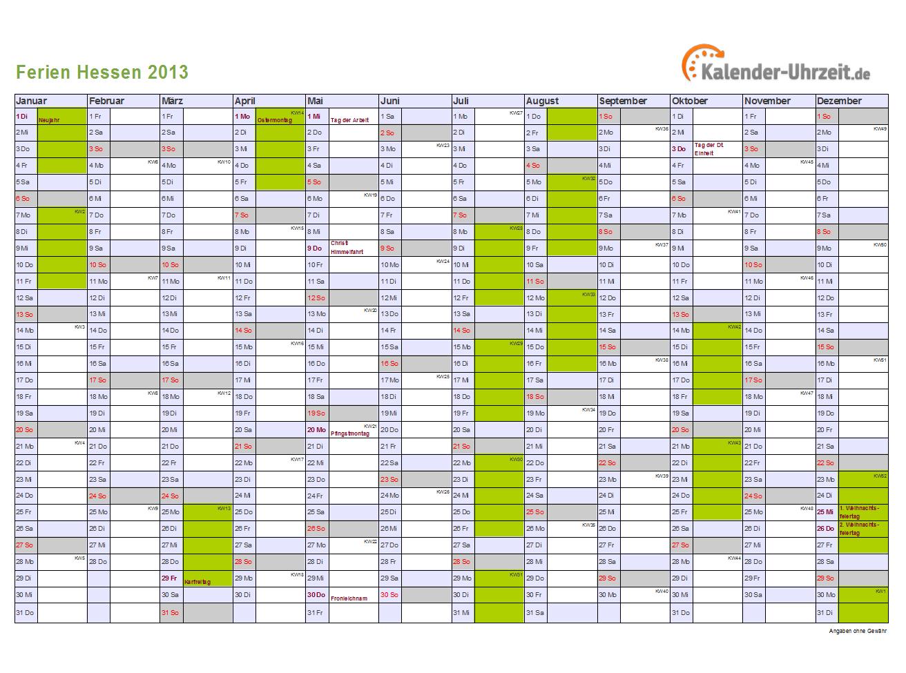 Kalender 2013 Hessen mit Ferien als Excel oder PDF ausdrucken DIN A4 ...