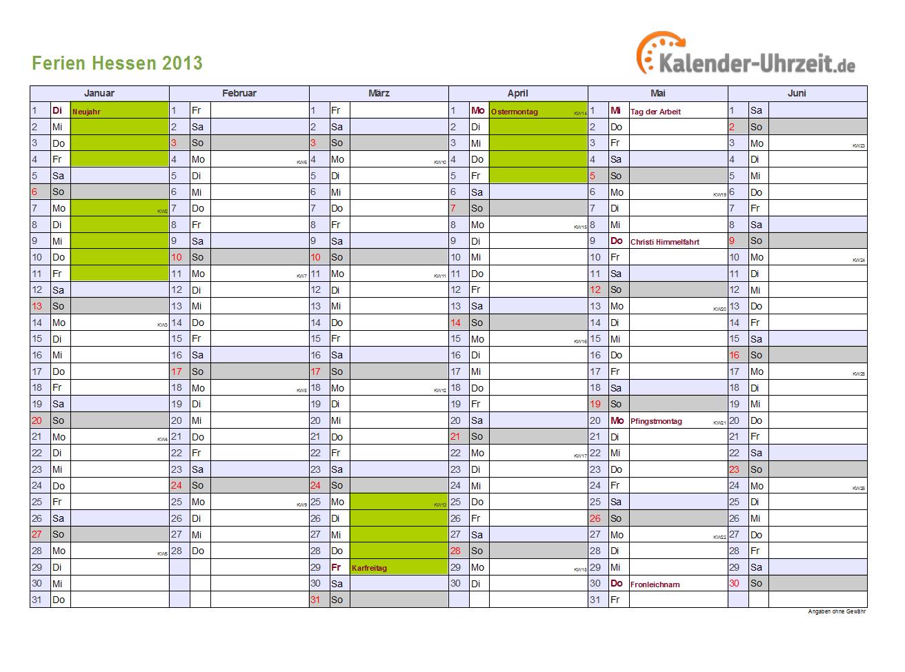Ferien 2013 hessen halbjahreskalender