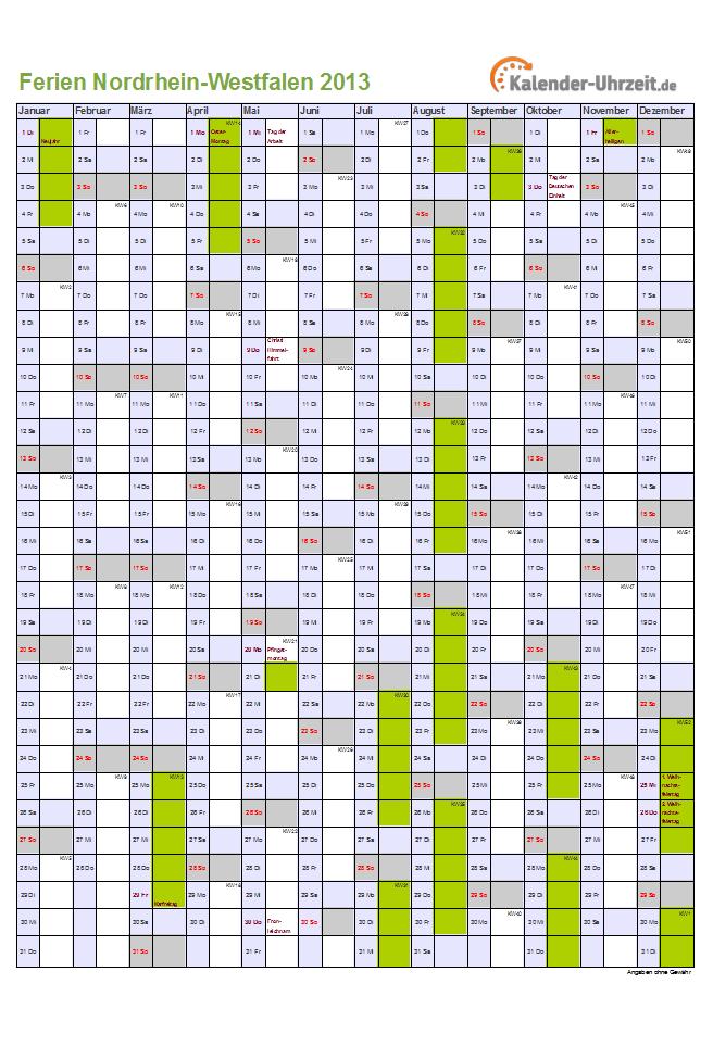 Ferien Nordrhein-Westfalen 2013 - Ferienkalender zum Ausdrucken