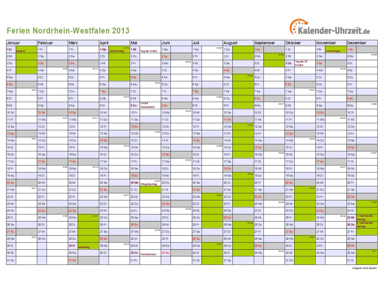 Schulferien 2013 Nordrhein-Westfalen (NRW) + Feiertage