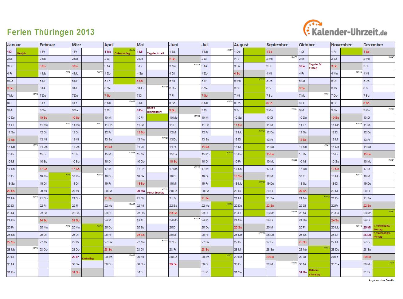 Ferien Thüringen 2013 - Ferienkalender zum Ausdrucken
