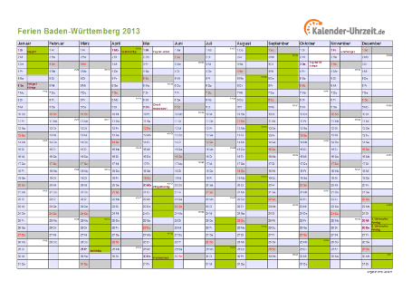 Ferienkalender 2013 für Baden-Württemberg - A4 quer-einseitig