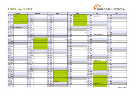 Ferienkalender 2013 für Bayern - A4 quer-zweiseitig