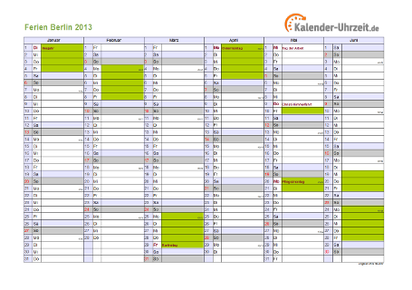 Ferienkalender 2013 für Berlin - A4 quer-zweiseitig