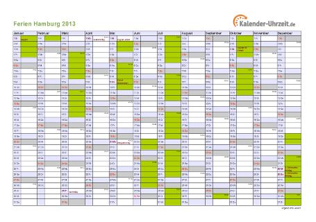 Ferienkalender 2013 für Hamburg - A4 quer-einseitig