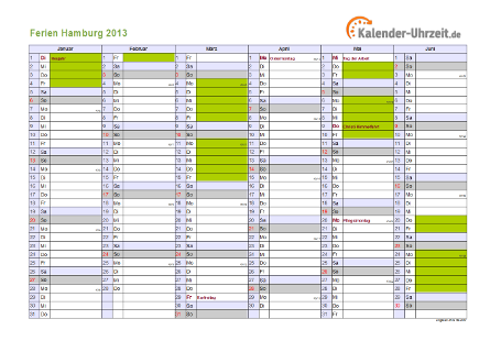 Ferienkalender 2013 für Hamburg - A4 quer-zweiseitig