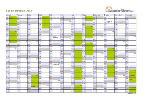 Ferienkalender 2013 für Hessen - A4 quer-einseitig