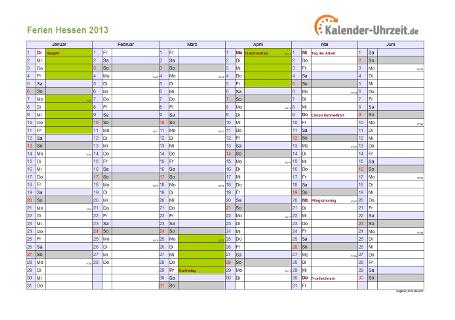 Ferienkalender 2013 für Hessen - A4 quer-zweiseitig