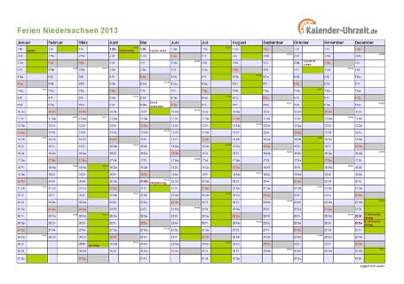 Ferienkalender 2013 für Niedersachsen - A4 quer-einseitig