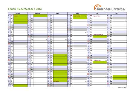 Ferienkalender 2013 für Niedersachsen - A4 quer-zweiseitig