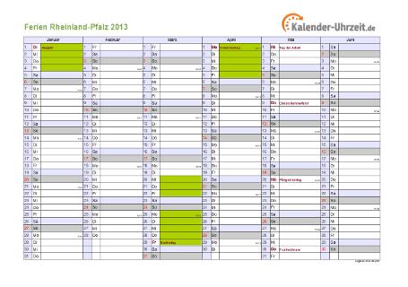 Ferienkalender 2013 für Rheinland-Pfalz - A4 quer-zweiseitig