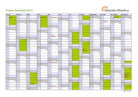 Ferienkalender 2013 für Saarland - A4 quer-einseitig