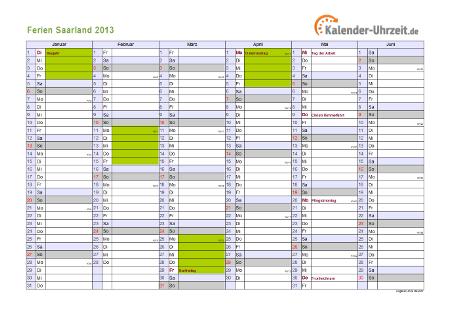 Ferienkalender 2013 für Saarland - A4 quer-zweiseitig
