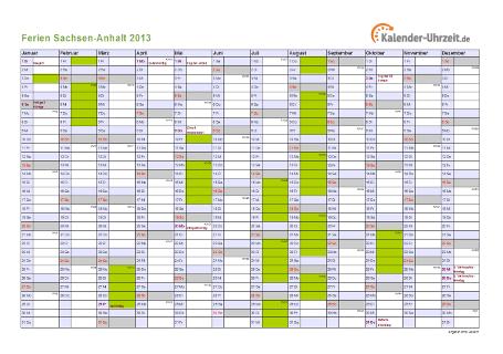 Ferienkalender 2013 für Sachsen-Anhalt - A4 quer-einseitig