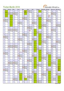 Ferienkalender 2014 für Berlin - A4 hoch-einseitig