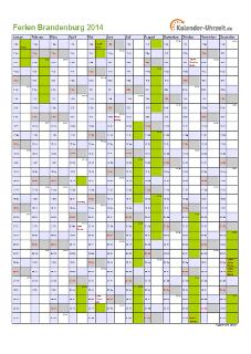 Ferienkalender 2014 für Brandenburg - A4 hoch-einseitig