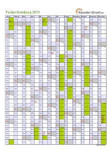 Ferienkalender 2014 für Hamburg - A4 hoch-einseitig