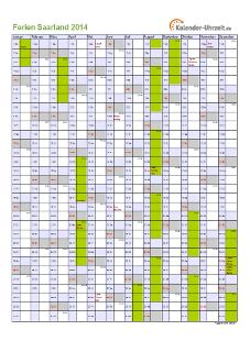 Ferienkalender 2014 für Saarland - A4 hoch-einseitig