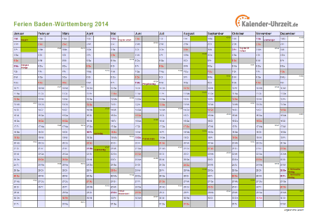 Ferienkalender 2014 für Baden-Württemberg - A4 quer-einseitig