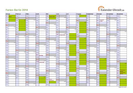 Ferienkalender 2014 für Berlin - A4 quer-einseitig