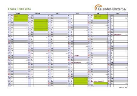 Ferienkalender 2014 für Berlin - A4 quer-zweiseitig