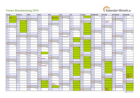 Ferienkalender 2014 für Brandenburg - A4 quer-einseitig
