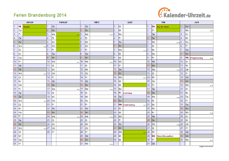 Ferienkalender 2014 für Brandenburg - A4 quer-zweiseitig