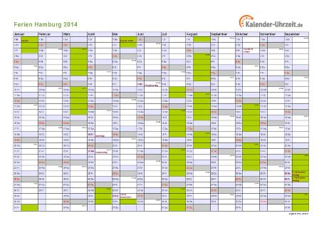 Ferienkalender 2014 für Hamburg - A4 quer-einseitig