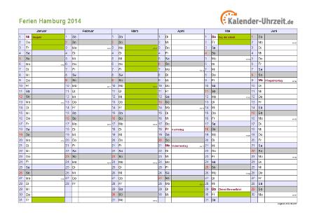 Ferienkalender 2014 für Hamburg - A4 quer-zweiseitig