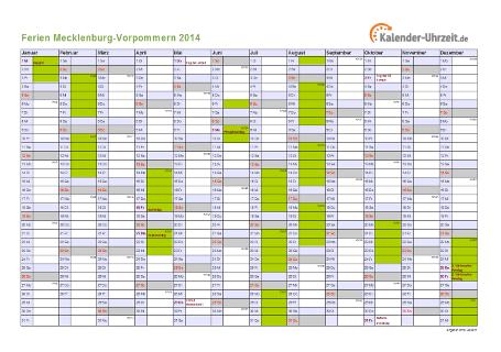 Ferienkalender 2014 für Meck.-Pomm. - A4 quer-einseitig