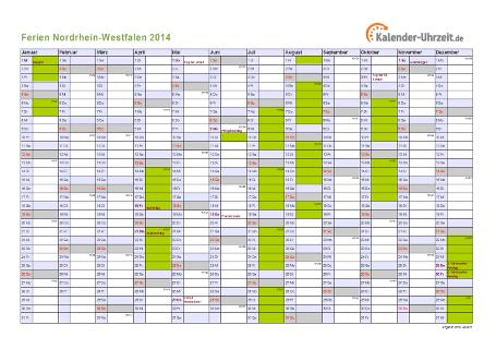 Ferienkalender 2014 für Nordrhein-Westfalen - A4 quer-einseitig
