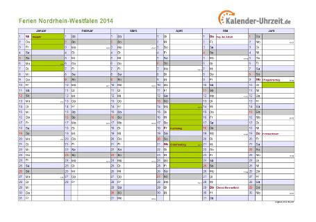 Ferienkalender 2014 für Nordrhein-Westfalen - A4 quer-zweiseitig