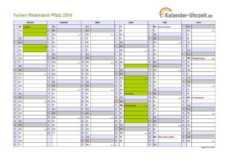 Ferienkalender 2014 für Rheinland-Pfalz - A4 quer-zweiseitig