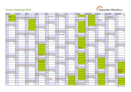 Ferienkalender 2014 für Saarland - A4 quer-einseitig
