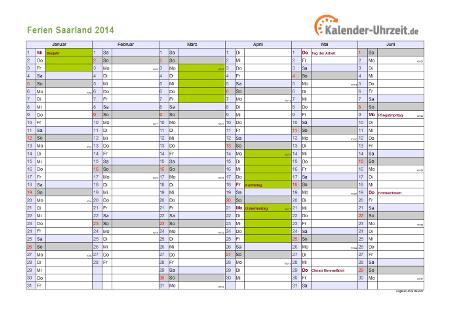 Ferienkalender 2014 für Saarland - A4 quer-zweiseitig