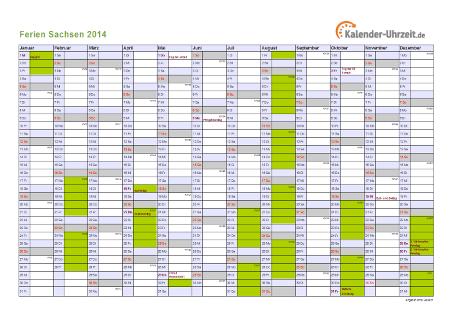 Ferienkalender 2014 für Sachsen - A4 quer-einseitig