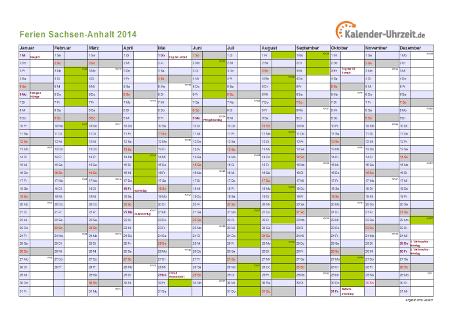 Ferienkalender 2014 für Sachsen-Anhalt - A4 quer-einseitig