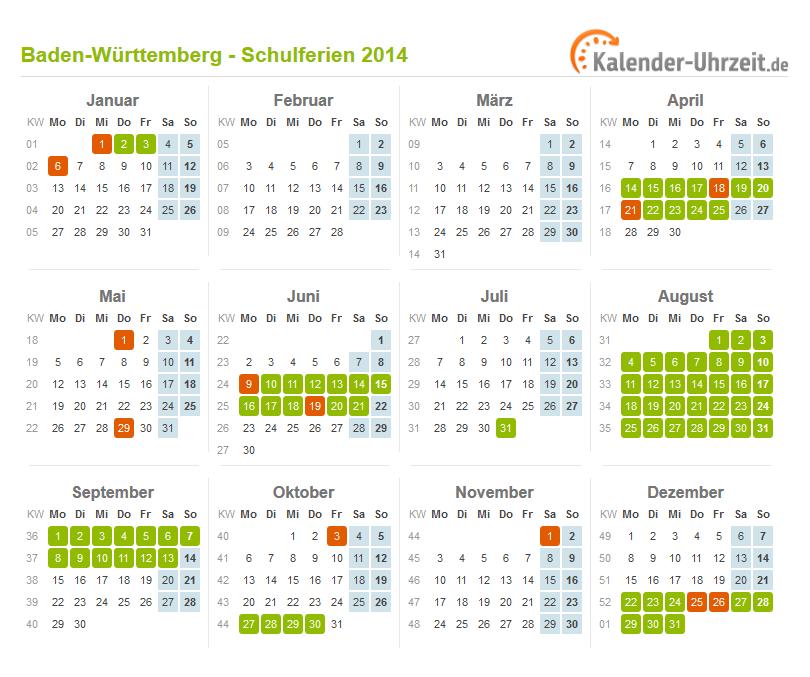 Ferienkalender 2015 Baden Württemberg Din A4 Querformat 1 Seitig ...