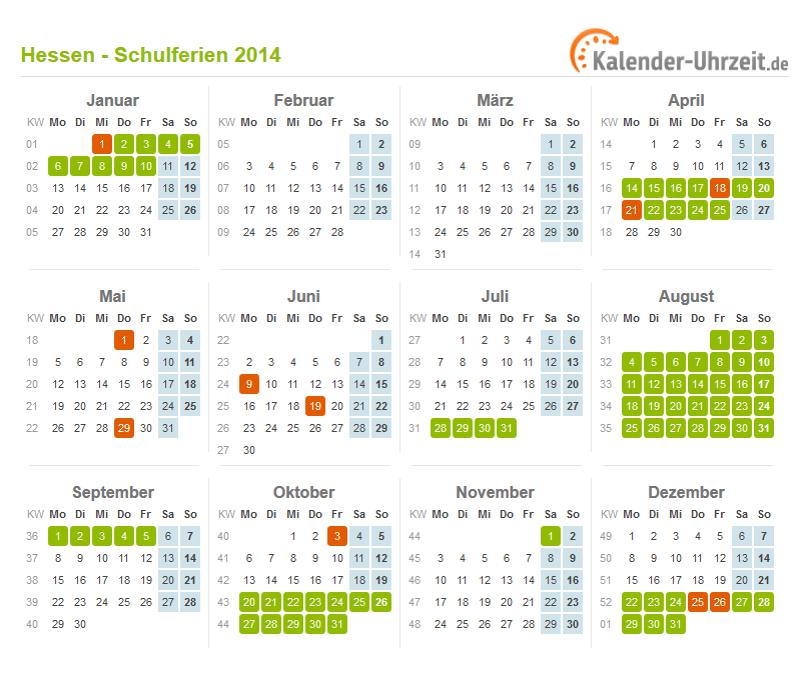 Ferien Hessen 2014 Ferienkalender Zum Ausdrucken