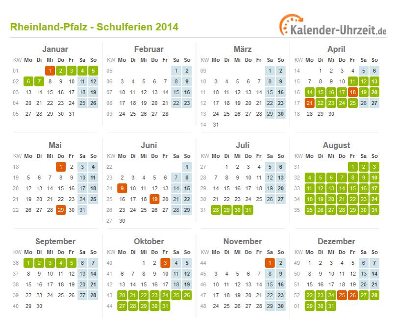 Ferienkalender 2014 Rheinland-Pfalz mit Feiertagen zum Ausdrucken und ...