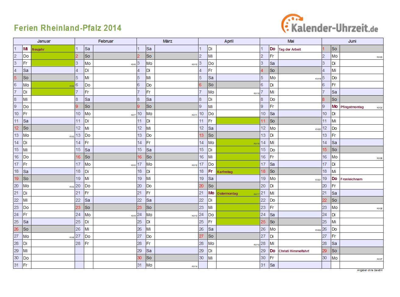 Ferien Rheinland-Pfalz 2014 - Ferienkalender zum Ausdrucken
