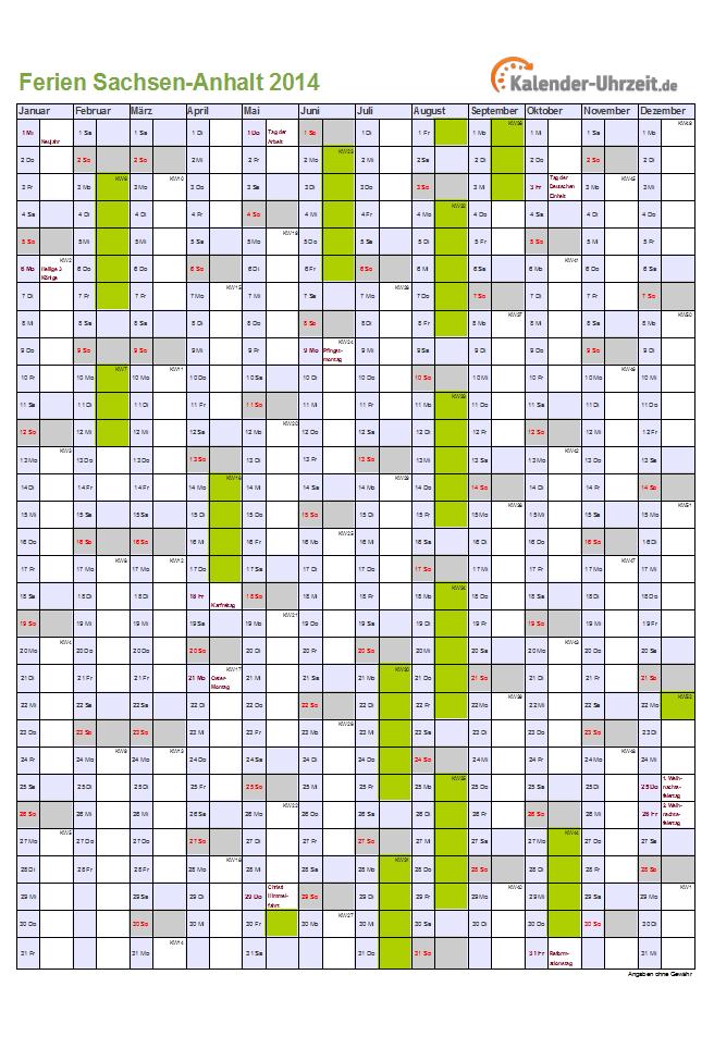 Schulferien Sachsen Anhalt 2014 Ferienkalender zum Ausdrucken