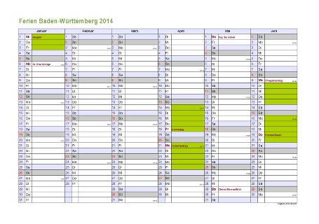 Ferienkalender 2014 für Baden-Württemberg - A4 quer-zweiseitig