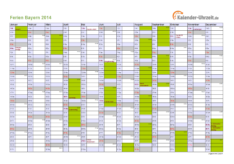Ferienkalender 2014 für Bayern - A4 quer-einseitig