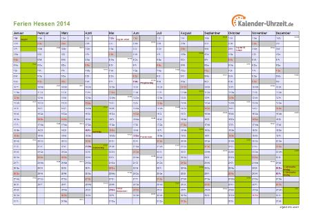 Ferienkalender 2014 für Hessen - A4 quer-einseitig