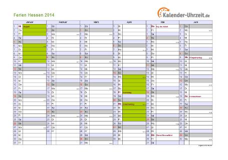 Ferienkalender 2014 für Hessen - A4 quer-zweiseitig