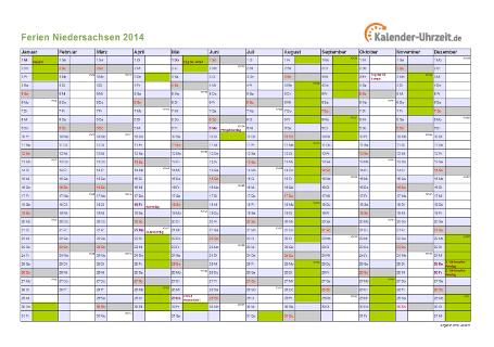 Ferienkalender 2014 für Niedersachsen - A4 quer-einseitig