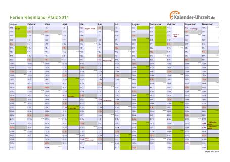 Ferienkalender 2014 für Rheinland-Pfalz - A4 quer-einseitig