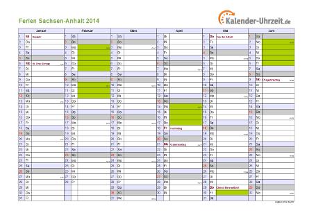Ferienkalender 2014 für Sachsen-Anhalt - A4 quer-zweiseitig